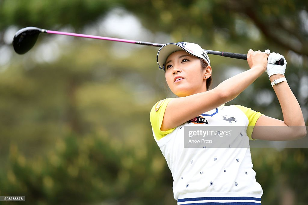 Bo-Mee Lee of Southkorea hits her tee shot on the 10th hole during the second round of the World Ladies Championship Salonpas Cup at the Ibaraki Golf Club on May 6, 2016 in Tsukubamirai, Japan.