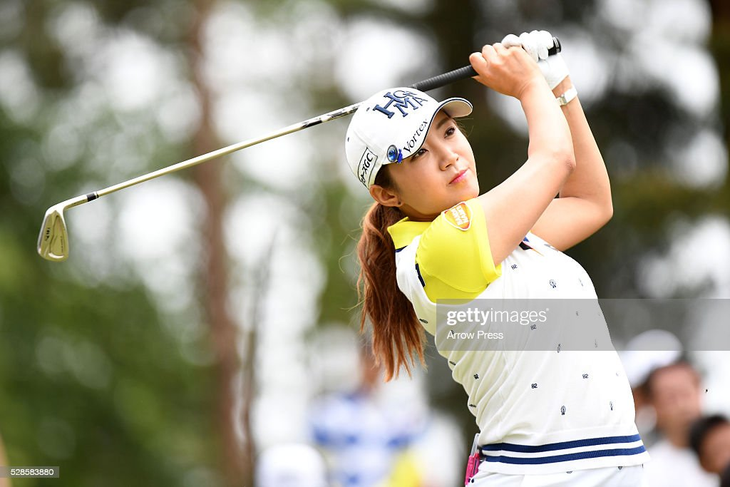 Bo-Mee Lee of Southkorea hits her tee shot on the 12th hole during the second round of the World Ladies Championship Salonpas Cup at the Ibaraki Golf Club on May 6, 2016 in Tsukubamirai, Japan.