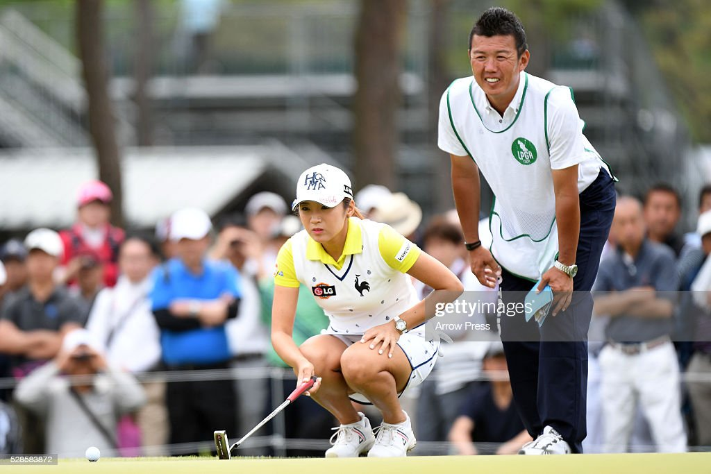 Bo-Mee Lee of Southkorea lines up her birdie putt on the 9th green during the second round of the World Ladies Championship Salonpas Cup at the Ibaraki Golf Club on May 6, 2016 in Tsukubamirai, Japan.