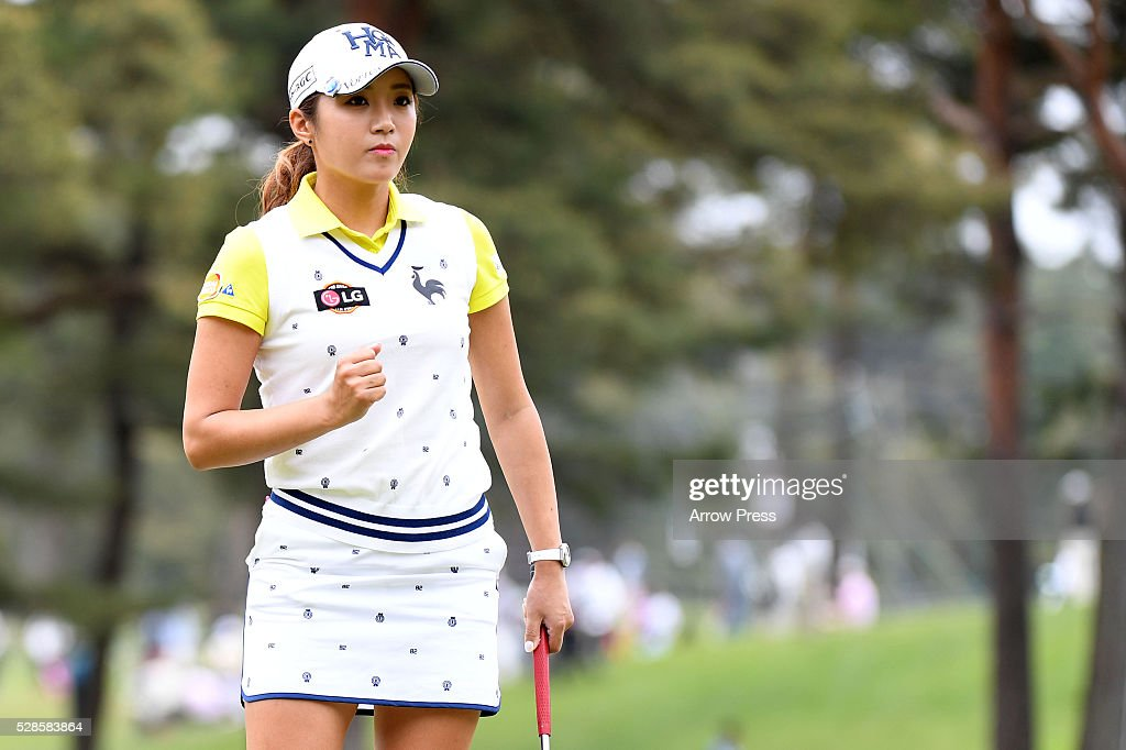 Bo-Mee Lee of Southkorea reacts during the second round of the World Ladies Championship Salonpas Cup at the Ibaraki Golf Club on May 6, 2016 in Tsukubamirai, Japan.
