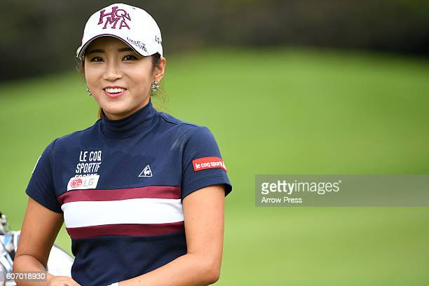 BoMee Lee of southkorea smails during the second round of the Munsingwear Ladies Tokai Classic 2016 at the Shin Minami Aichi Country Club Mihama...