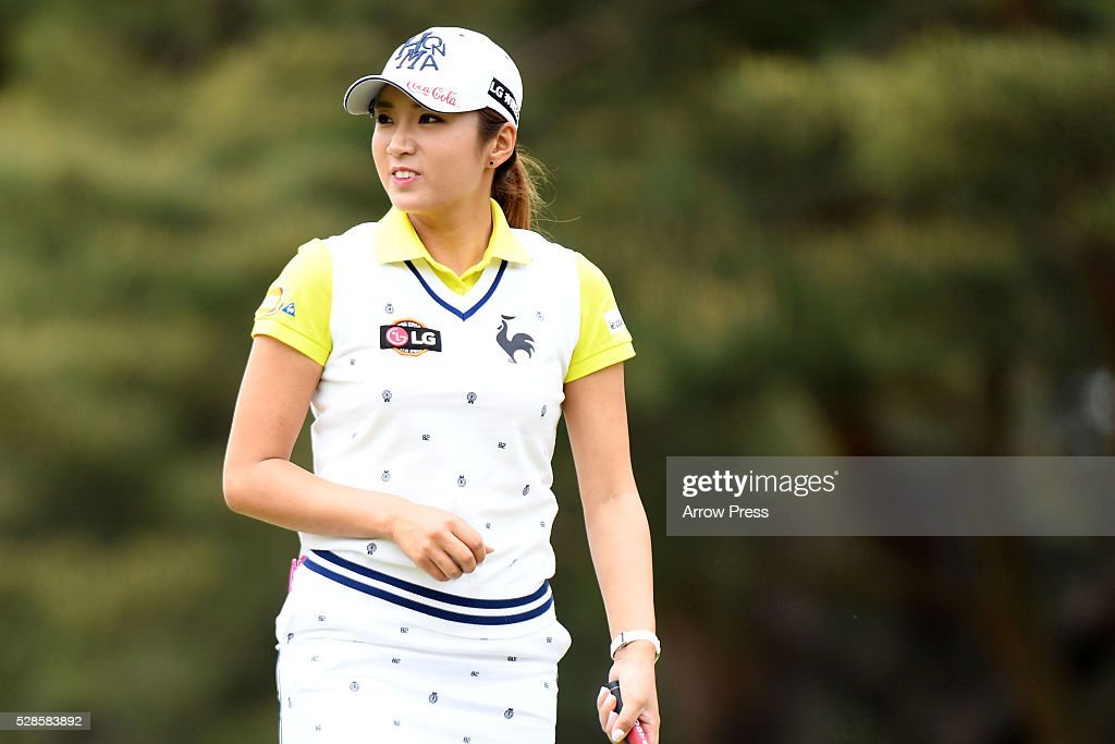 Bo-Mee Lee of Southkorea smails during the second round of the World Ladies Championship Salonpas Cup at the Ibaraki Golf Club on May 6, 2016 in Tsukubamirai, Japan.