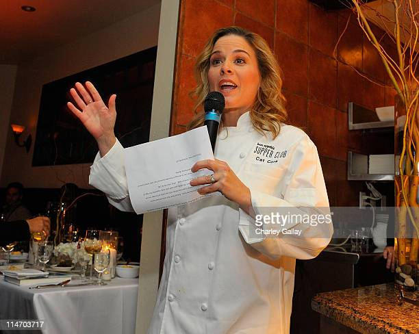 Bon Appetit Exec Chef Cat Cora speaks at the Bon Appetit Supper Club 'Good Hair' Dinner at Skylodge on January 18 2009 in Park City Utah