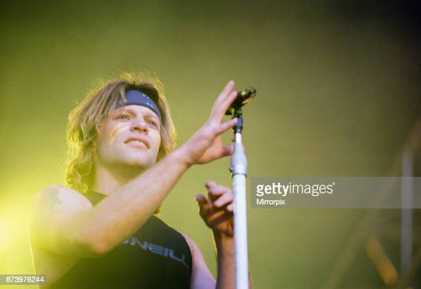 Bon Jovi in Concert These Days Tour National Stadium Cardiff Arms Park Cardiff Wales Wednesday 21st June 1995 our picture shows lead singer Jon Bon...