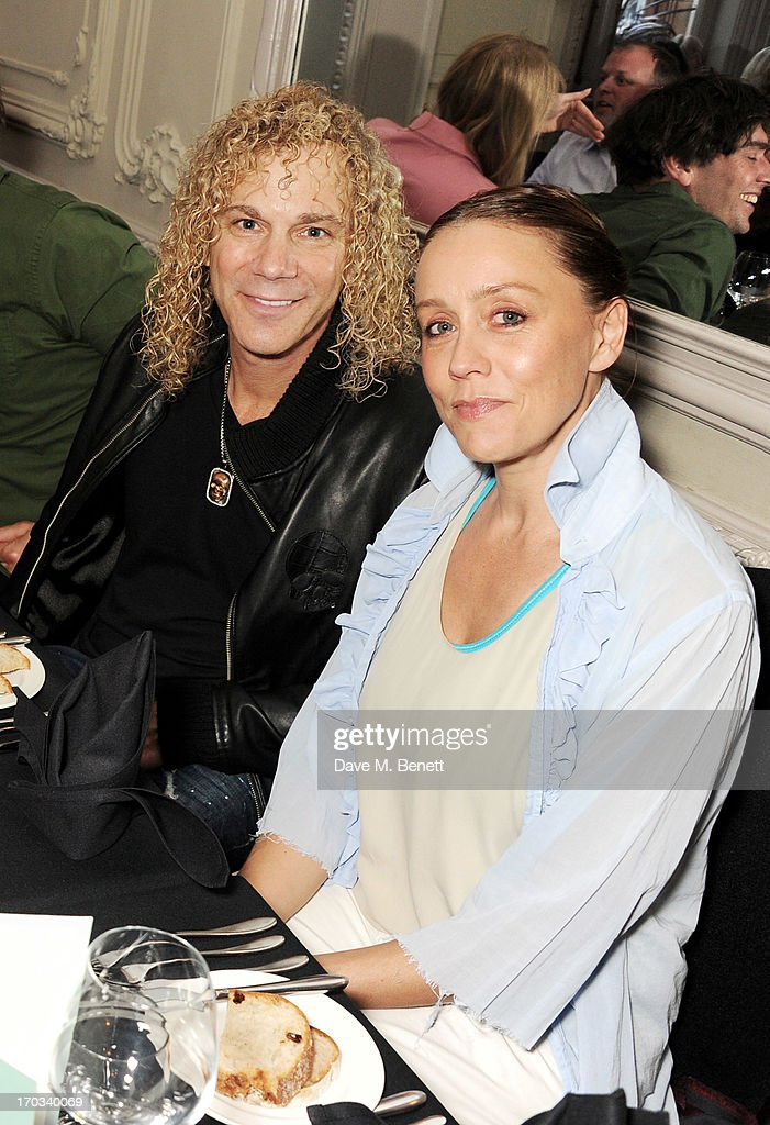 Bon Jovi keyboardist David Bryan (L) and Kate Spicer attend a private dinner previewing the new 'Alex James Presents' Blue Monday cheese at The Cadogan Hotel on June 11, 2013 in London, England.
