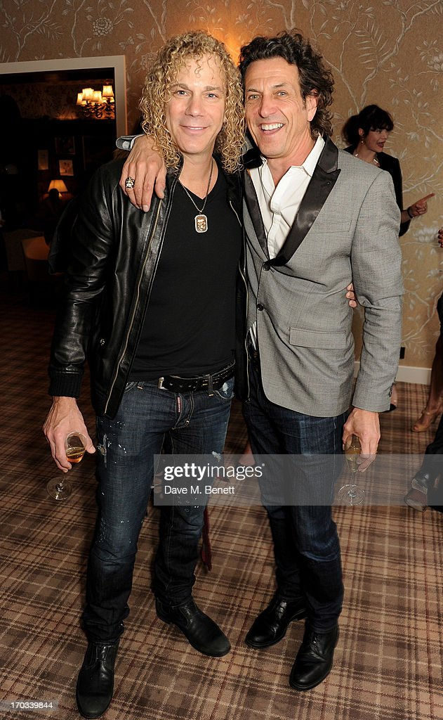 Bon Jovi keyboardist David Bryan (L) and Stephen Webster attend a private dinner previewing the new 'Alex James Presents' Blue Monday cheese at The Cadogan Hotel on June 11, 2013 in London, England.