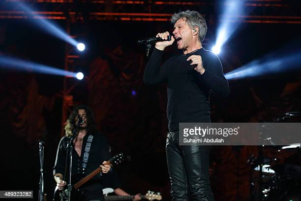 Bon Jovi performs live on stage on Day 3 at the Singapore Formula One Grand Prix at Marina Bay Street Circuit on September 20 2015 in Singapore