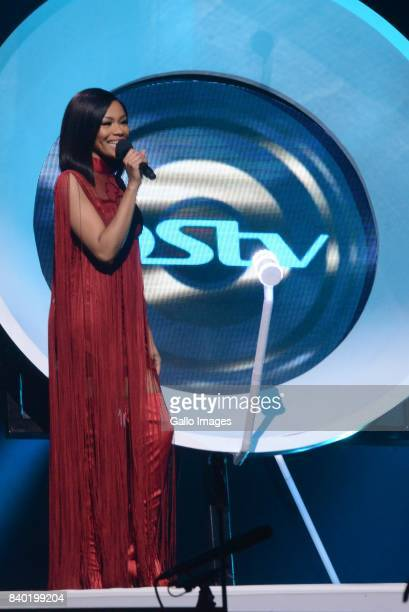 Bonang Matheba is a South African television personality radio host and businesswoman during the DStv Mzansi Viewers Choice Awards event at the...