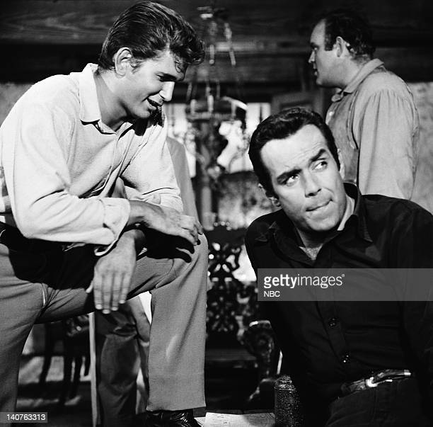 Bonanza 'Badge Without Honor' Episode 2 Pictured Michael Landon as Joseph 'Little Joe' Cartwright Pernell Roberts as Adam Cartwright and Dan Blocker...