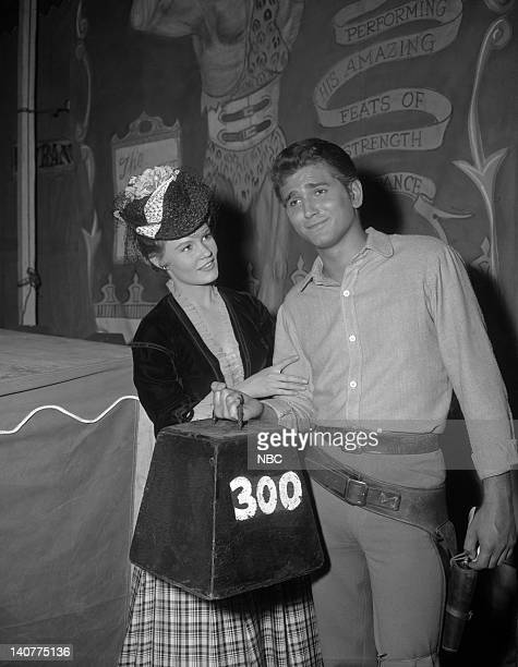 Bonanza 'The Abduction' Episode 8 Pictured Jackie Russell as Jennifer Beale Michael Landon as Joseph 'Little Joe' Cartwright Photo by NBC/NBCU Photo...