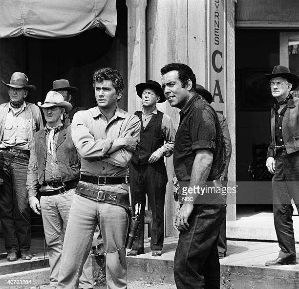 Bonanza 'The Ape' Episode 14 Pictured Michael Landon as Joseph 'Little Joe' Cartwright Pernell Roberts as Adam Cartwright and Background Photo by...
