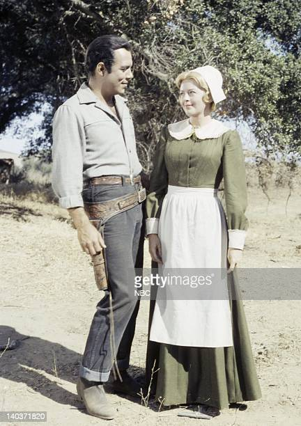 Bonanza 'The Hopefuls' Episode 5 Pictured Pernell Roberts as Adam Cartwright Patricia Donahue as Regina Darien Photo by NBC/NBCU Photo Bank