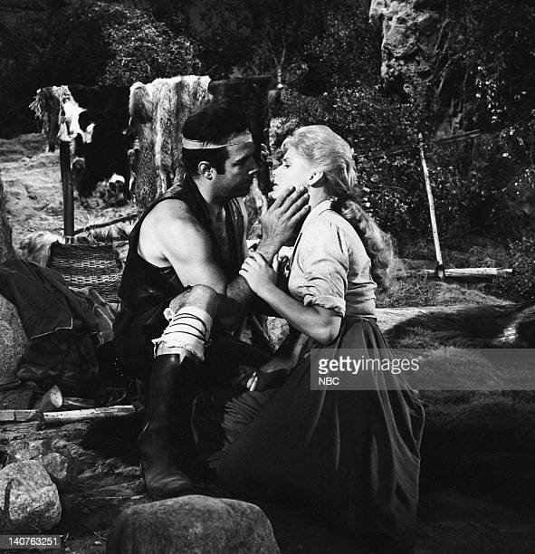 Bonanza 'The Savage' Episode 12 Pictured Pernell Roberts as Adam Cartwright AnnaLisa as White Buffalo Woman/Ruth Halversen Photo by NBC/NBCU Photo...