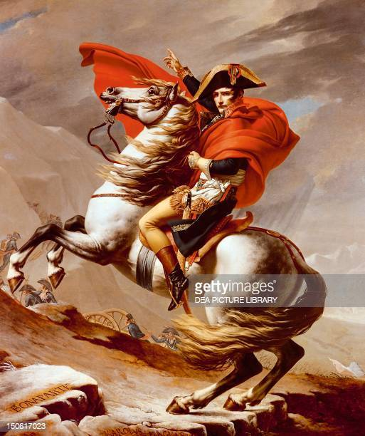 Bonaparte crossing the St Bernard Pass May 1800 1801 painting by JacquesLouis David oil on canvas 264x231 cm French Revolutionary Wars...