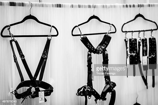 Bondage gear on display at the annual Sexpo convention at Olympia Exhibition Centre on November 13 2015 in London England