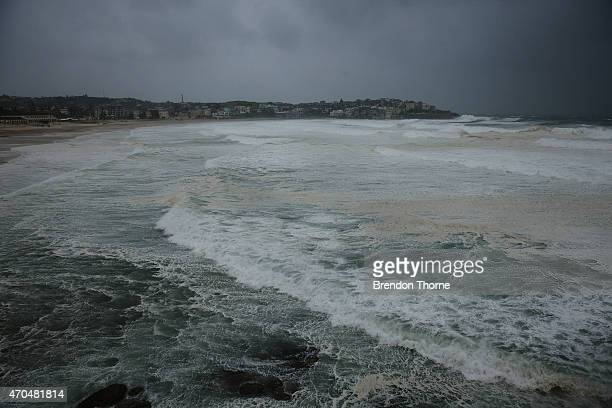 Bondi beach is battered by wild weather on April 21 2015 in Sydney Australia A second day of damaging winds and heavy rain have hit the New South...