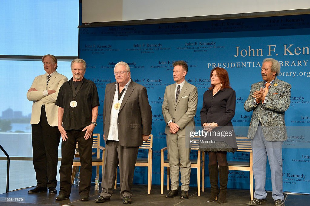 T Bone Burnett, Kris Kristofferson, Randy Newman, Lyle Lovett, Rosanne Cash and Allen Toussaint attend the PEN New England Song Lyrics Awards honoring Kristofferson and Newman at The John F. Kennedy Presidential Library And Museum on June 2, 2014 in Boston, Massachusetts.
