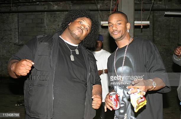 Bone Crusher and Camron during Bone Crusher Remix Video Shoot Featuring Busta Rhymes Camron Juelz Santana and Jadakiss at Broadway Warehouse in New...