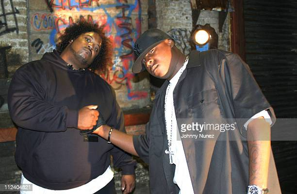 Bone Crusher and Jadakiss during Bone Crusher Remix Video Shoot Featuring Busta Rhymes Camron Juelz Santana and Jadakiss at Broadway Warehouse in New...