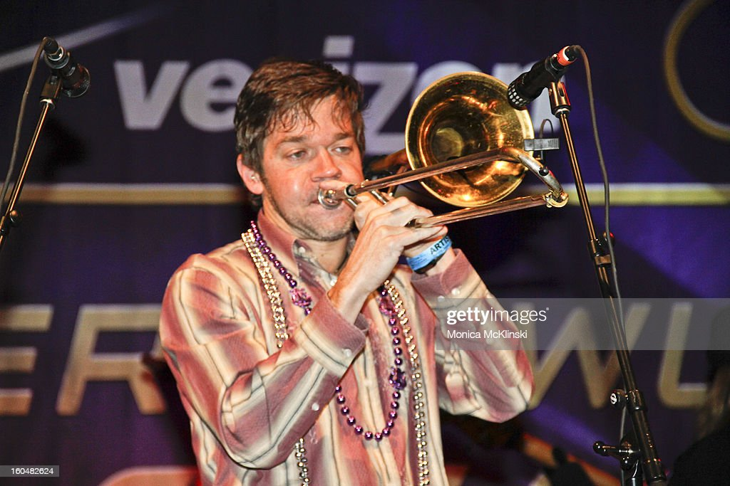 Bonerama Trombonist Mark Mullins performs during the Verizon Super Bowl Boulevard at Woldenberg Park on January 31, 2013 in New Orleans, Louisiana.