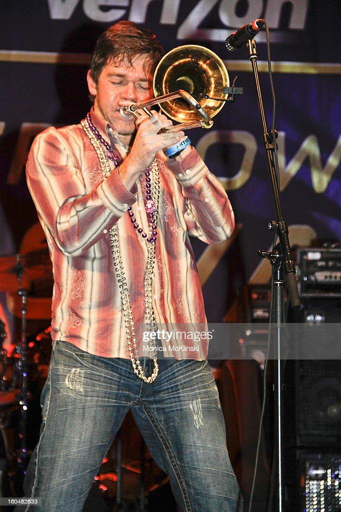 Bonerama Trombonist Mark Mullins performs during the Verizon Super Bowl Boulevard at Woldenberg Park on January 31, 2013 in New Orleans, Louisiana.