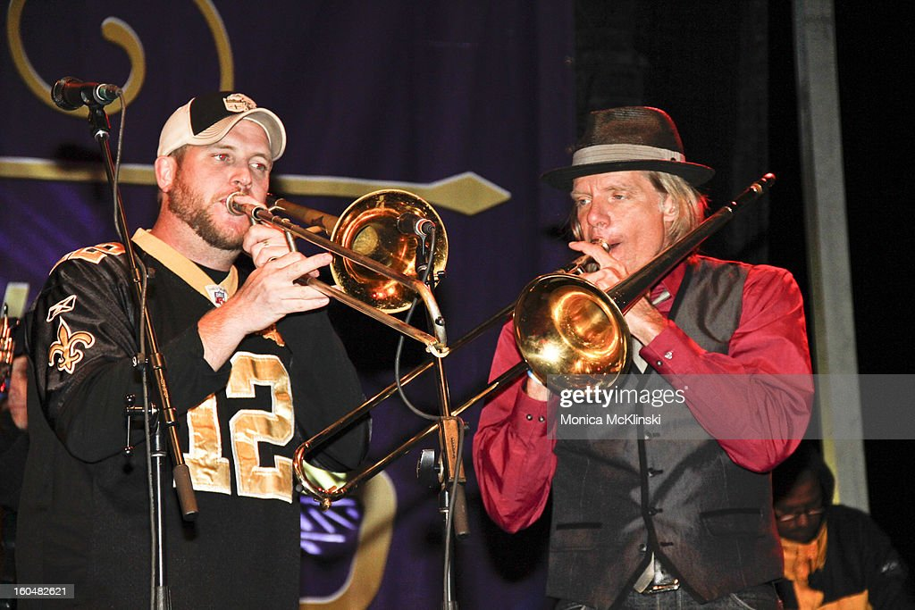 Bonerama Trombonists Greg Hicks and Craig Klein perform during the Verizon Super Bowl Boulevard at Woldenberg Park on January 31, 2013 in New Orleans, Louisiana.