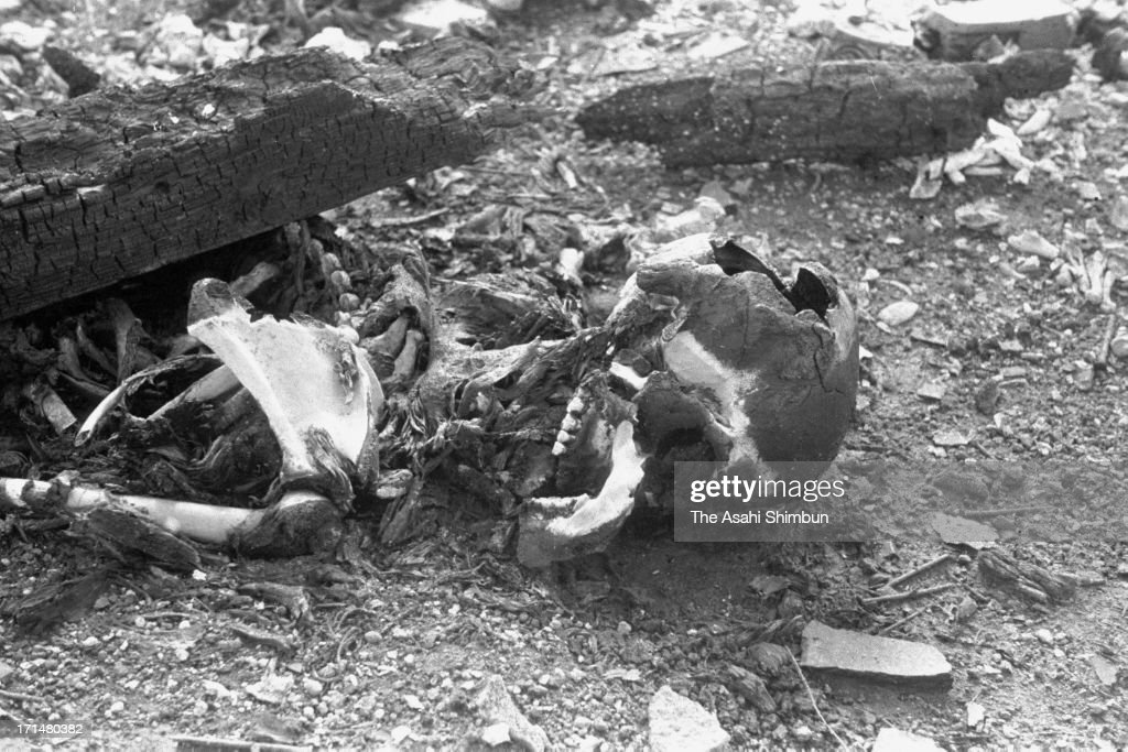 Bones and ashes left after cremation of Nagasaki atomic bomb victims in August 1945 in Nagasaki Japan The world's first atomic bomb was dropped on...