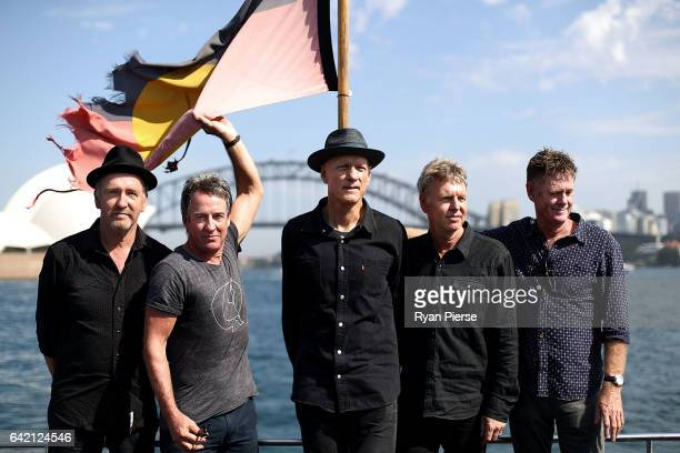 Bones Hillman Rob Hirst Peter Garrett Jim Moginie and Martin Rotsey of Midnight Oil poses on Sydney Harbour after announcing their upcoming World...
