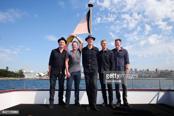 Bones Hillman Rob Hirst Peter Garrett Jim Moginie and Martin Rotsey of Midnight Oil during a media announcement on February 17 2017 in Sydney...