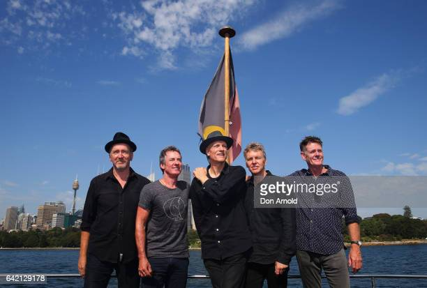 Bones Hillman Rob Hirst Peter Garrett Jim Moginie and Martin Rotsey of Midnight Oil pose during a media announcement on February 17 2017 in Sydney...
