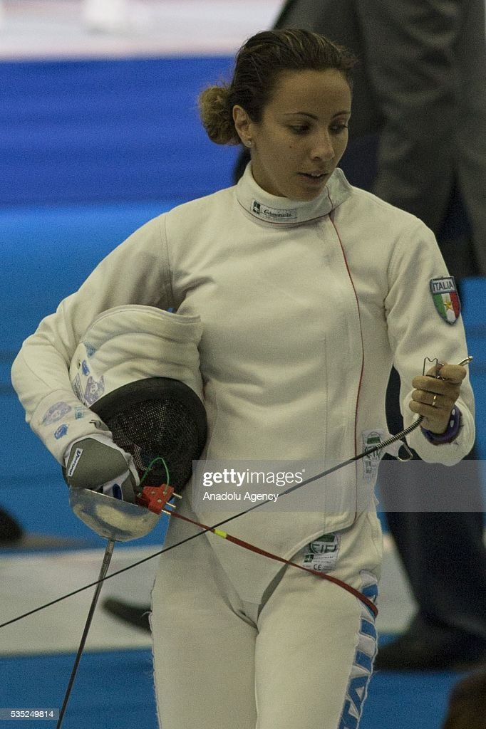 Bonessio Lavinia from Italy competes in the fencing at the mixed relay World Championship in modern pentathlon in Olympic Sports Complex in Moscow, Russia, on May 29, 2016.
