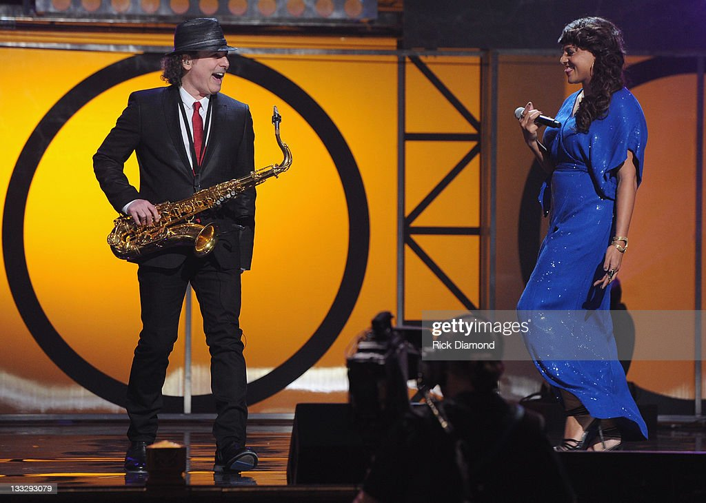 Boney James and <a gi-track='captionPersonalityLinkClicked' href=/galleries/search?phrase=Marsha+Ambrosius&family=editorial&specificpeople=825480 ng-click='$event.stopPropagation()'>Marsha Ambrosius</a> perform during the 2011 Soul Train Awards at The Fox Theatre on November 17, 2011 in Atlanta, Georgia.