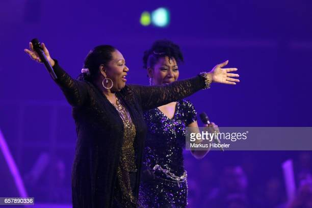 Boney M feat Liz Mitchell performs during the show 'Schlagercountdown Das grosse Premierenfest' at EWE Arena on March 25 2017 in Oldenburg Germany