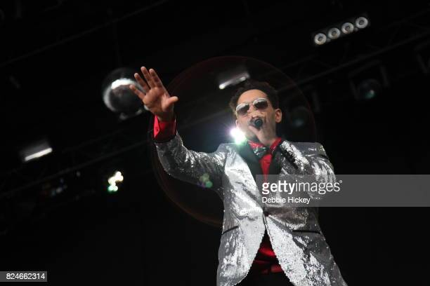 Boney M perform on stage during Punchestown Music Festival at Punchestown Racecourse on July 30 2017 in Naas Ireland