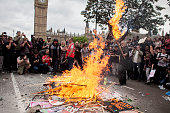 A bonfire in Parliament Square in London during the demonstration against the austerity measures adopted by the new tories government