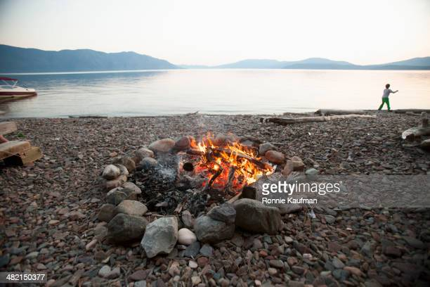 Bonfire on rocky beach