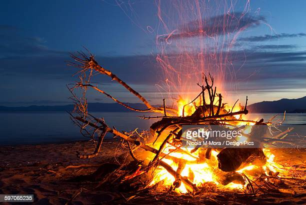 Bonfire on the beach at Golden Bay, New Years Eve