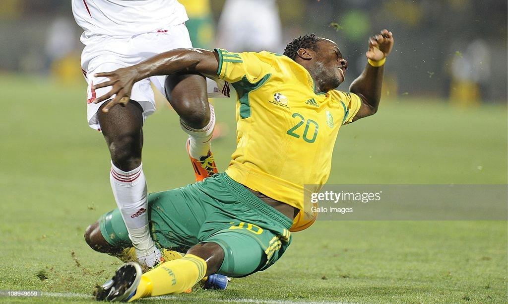 Bongani Khumalo during the International friendly match between South Africa and Kenya at Royal Bafokeng Stadium on February 09, 2011 in Rustenburg, South Africa.