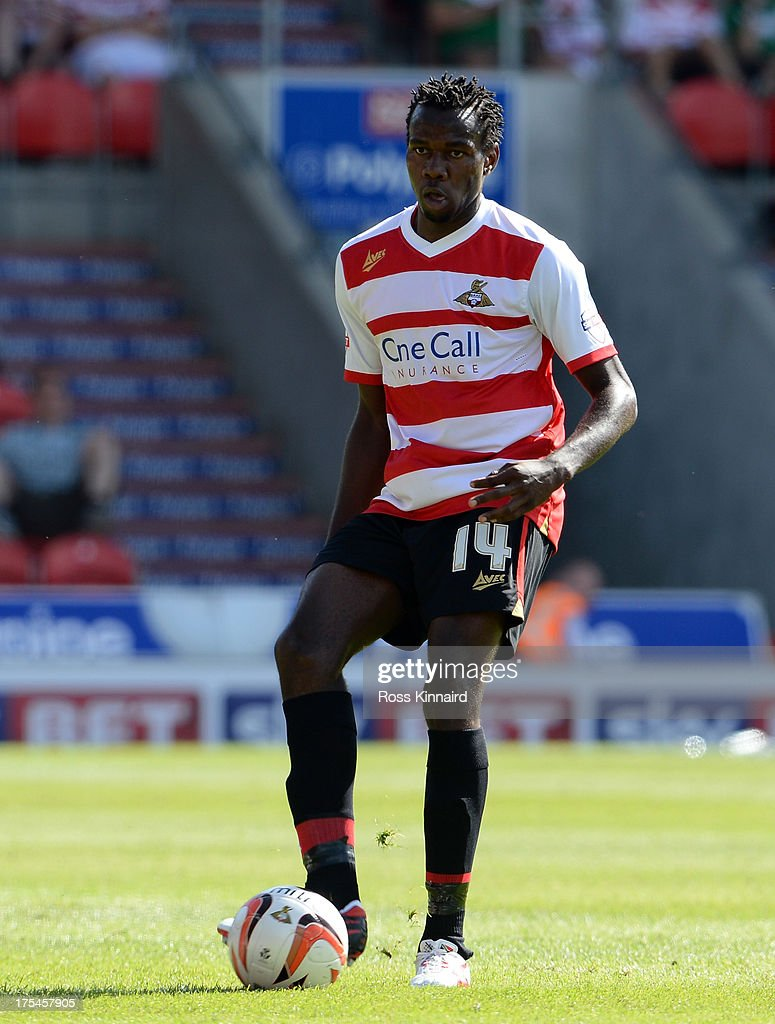 <a gi-track='captionPersonalityLinkClicked' href=/galleries/search?phrase=Bongani+Khumalo&family=editorial&specificpeople=4501463 ng-click='$event.stopPropagation()'>Bongani Khumalo</a> of Doncaster during the Sky Bet Championship match between Doncaster Rovers and Blackpool at Keepmoat Stadium on August 03, 2013 in Doncaster, England,