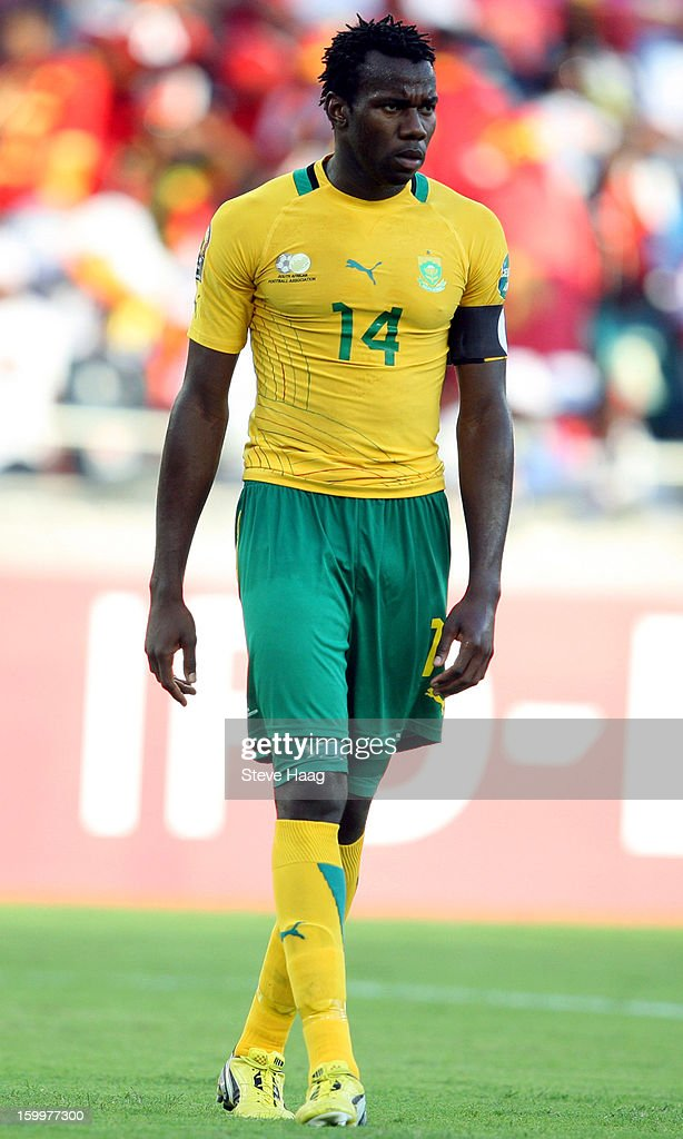 Bongani Khumalo of South Africa during the 2013 African Cup of Nations match between South Africa and Angola at Moses Mahbida Stadium on January 23, 2013 in Durban, South Africa.