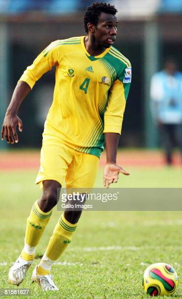 Bongani Khumalo of South Africa looks to pass during the AFCON and FIFA 2010 World Cup Qualifier match between Sierra Leone and South Africa held at...