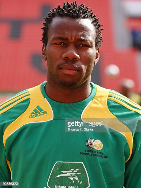 Bongani Khumalo poses during the South Africa National Team presentation at the BayArena on September 4 2009 in Leverkusen Germany