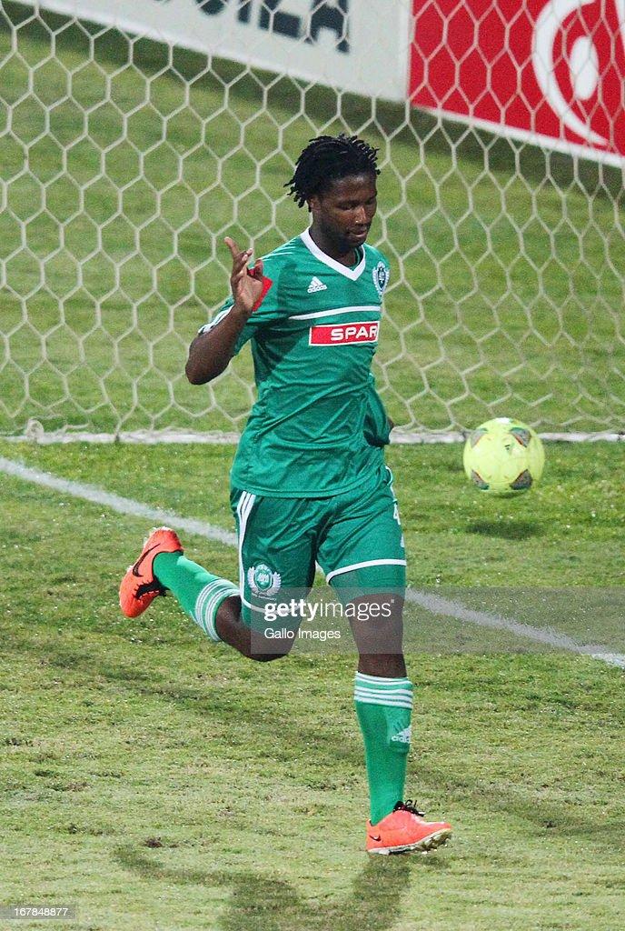 Bongani Ndulula celebrates his goal during the Absa Premiership match between AmaZulu and Black Leopards from Princess Magogo Stadium on May 01, 2013 in Kwa Mashu, South Africa.