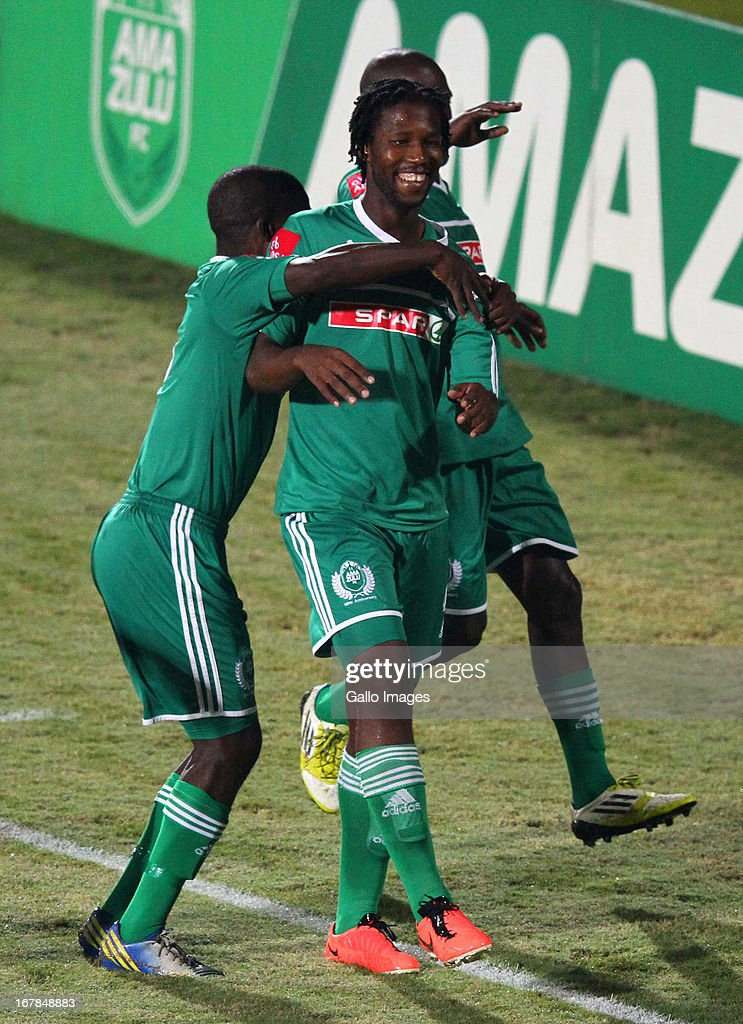 Bongani Ndulula celebrates his goal during the Absa Premiership match between AmaZulu and Black Leopards from Princess Magogo Stadium on May 01, 2013 in Kwa Mashu, South Africa.