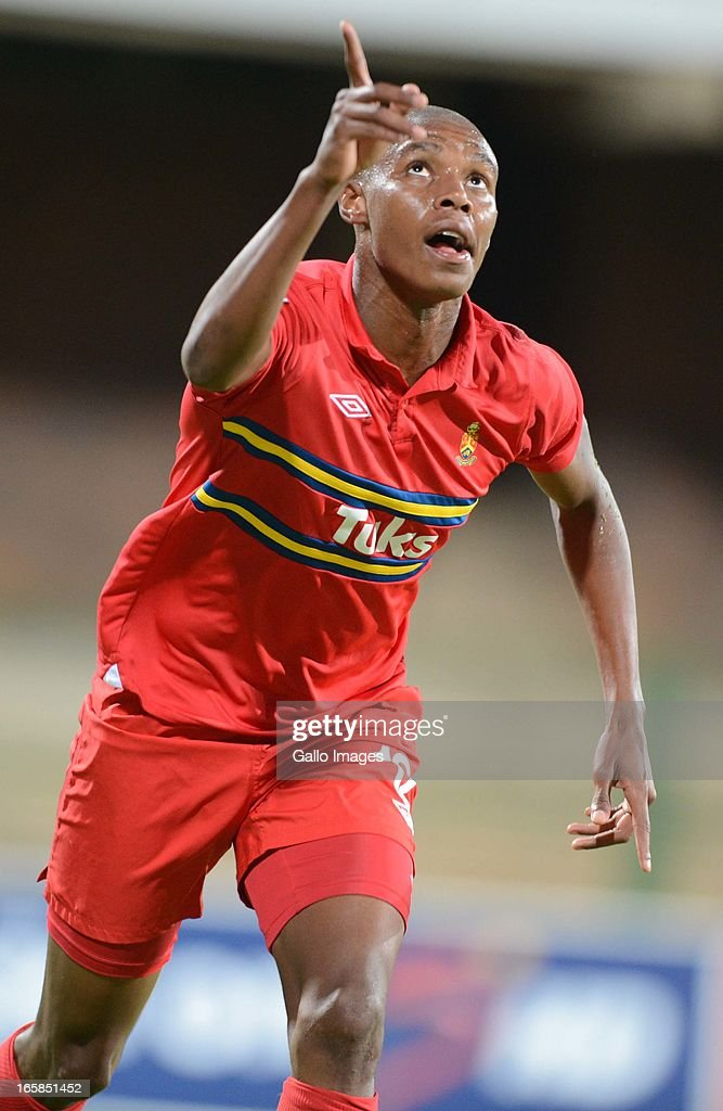 Bongani Zungu celebrates his goal during the Absa Premiership match between University of Pretoria and AmaZulu at Tuks Stadium on April 06, 2013 in Pretoria, South Africa.