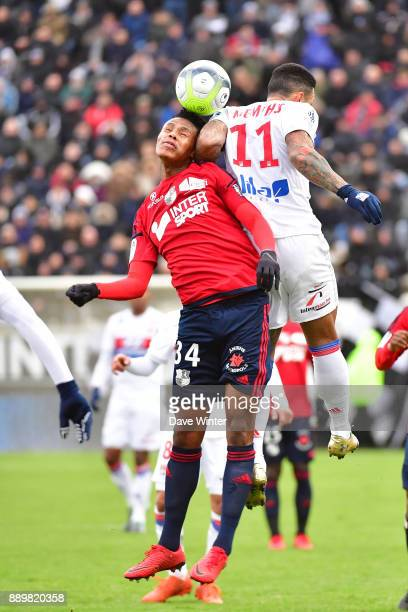 Bongani Zungu of Amiens and Memphis Depay of Lyon during the Ligue 1 match between Amiens SC and Olympique Lyonnais at Stade de la Licorne on...