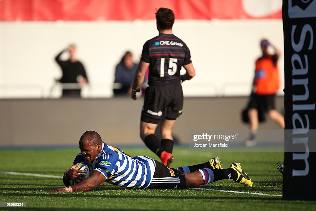 Bongi Mbonambi of Western Province touches down a try during the match between Saracens and DHL Western Province at Allianz Park on November 9 2014...
