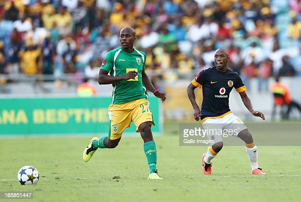 Bonginkosi Ntuli and Bernard Parker during the Absa Premiership match between Golden Arrows and Kaizer Chiefs at Moses Mabhida Stadium on April 06...