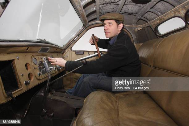 Bonhams auctioneer's consultant Nicholas Benwell at the wheel of a rare 1937 Bugatti Type 57S in Hartley Witney Hampshire which will go to auction at...
