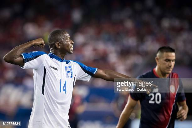 Boniek García of Honduras shows his frustration with a call during the Group A CONCACAF Gold Cup Match between Honduras and Costa Rica at the Red...